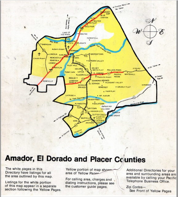 CA - Amador, El Dorado, Placer Counties 1980 White & Yellow Pages